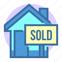 buiding, estate, home, house, property, sold icon