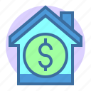 building, dollar, estate, home, price, property icon