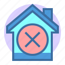building, delete, estate, home, property icon