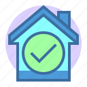 approve, correct, estate, home, property icon