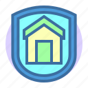building, estate, home, property, protection, shield icon
