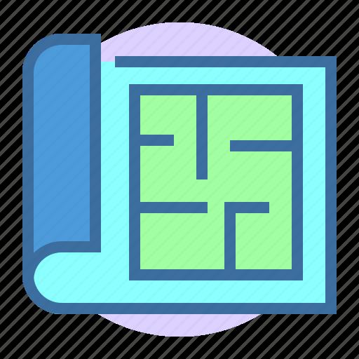 blueptint, estate, home, plan, property icon
