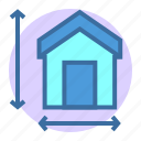estate, home, measuring, property icon