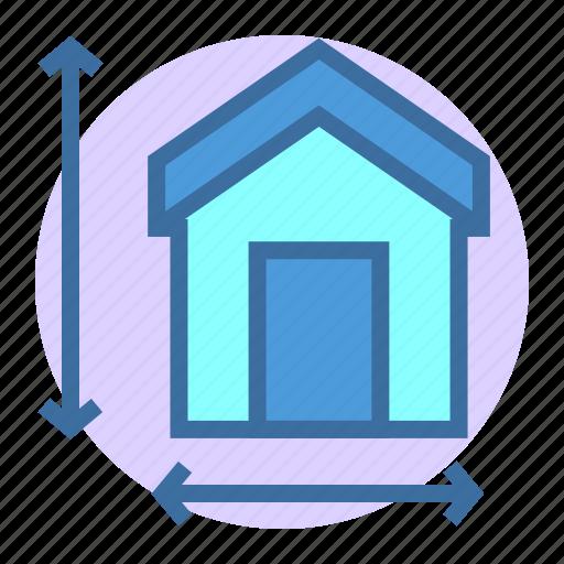 estate, home, measuring, property icon