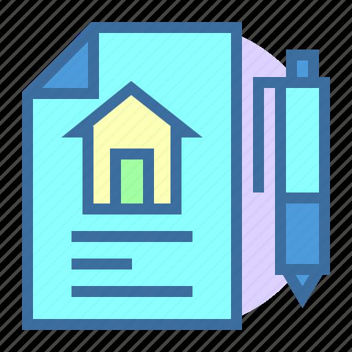 deals, estate, file, home, pen, property icon