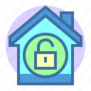 estate, home, property, secure, unlock icon