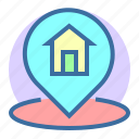 estate, home, location, pin, property icon