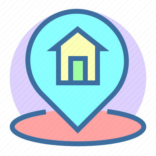 estate, home, location, pin, property icon