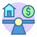 balance, estate, home, opportunity, property, scales icon