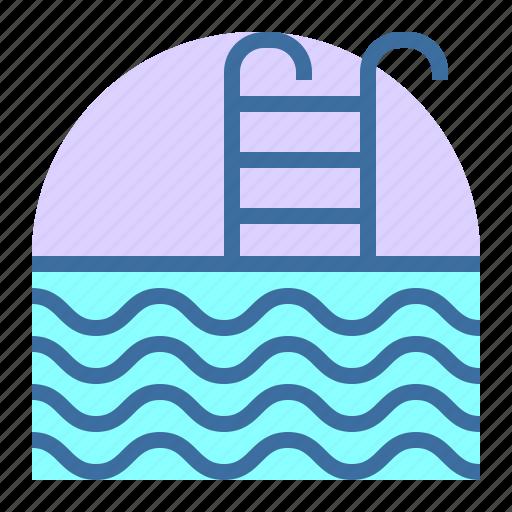 estate, home, pool, property icon