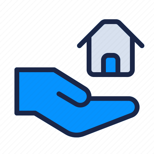 estate, give, hand, home, house, property, real icon
