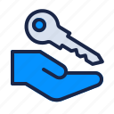 estate, give, hand, home, key, property, real icon