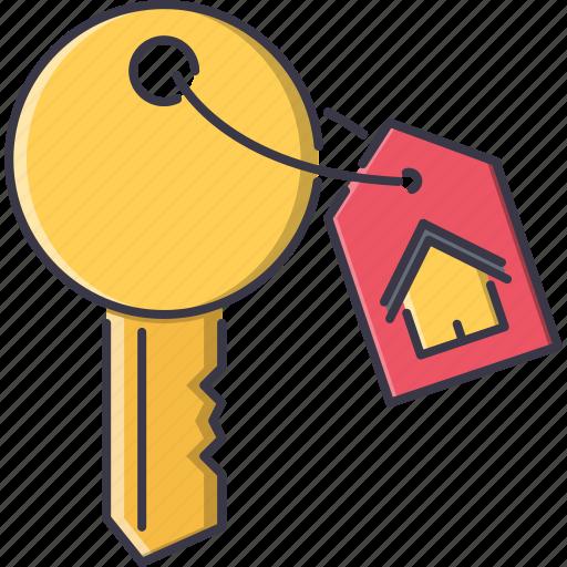 badge, estate, house, key, real, realtor icon