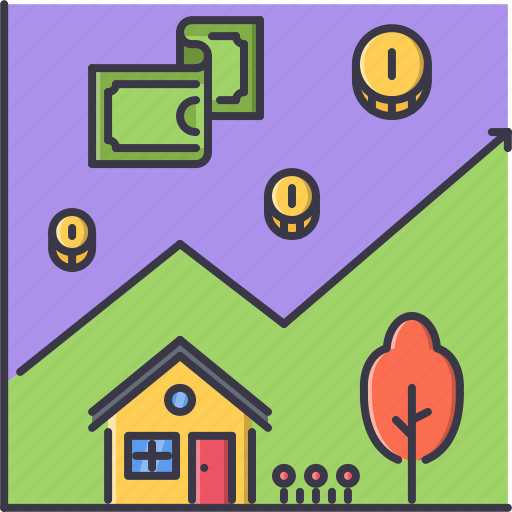 chart, coin, estate, house, money, real, realtor icon