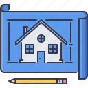 estate, house, pencil, plan, real, realtor icon