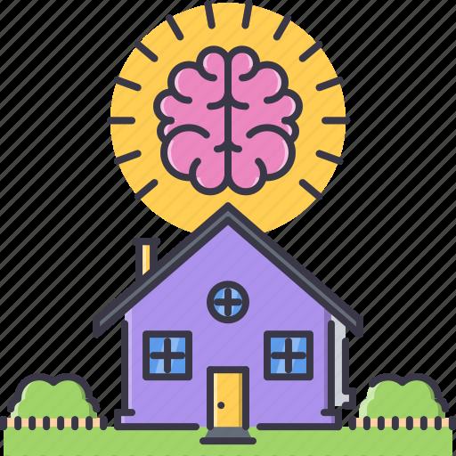 brain, estate, house, real, realtor, smart icon