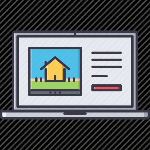 estate, house, laptop, real, realtor, site, website icon
