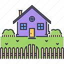 bush, estate, fence, garden, house, real, realtor icon