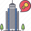 apartment, estate, house, key, real, skyscraper icon