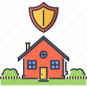 bush, estate, garden, house, protection, real, shield icon