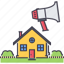 estate, house, marketing, megaphone, real, realtor, sale icon