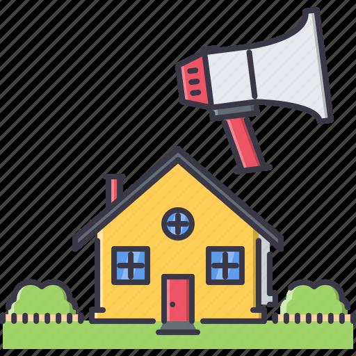 estate, house, marketing, megaphone, real, realtor, sale icon