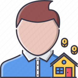 coin, estate, house, man, manager, real, realtor icon