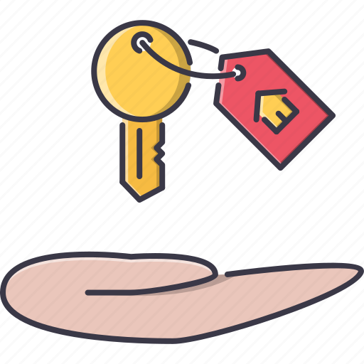 badge, estate, hand, house, key, real, realtor icon