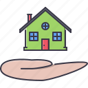 estate, hand, house, real, realtor icon