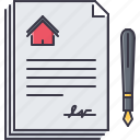 contract, estate, house, paper, pen, real, realtor icon