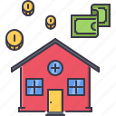 coin, estate, house, money, real, realtor icon