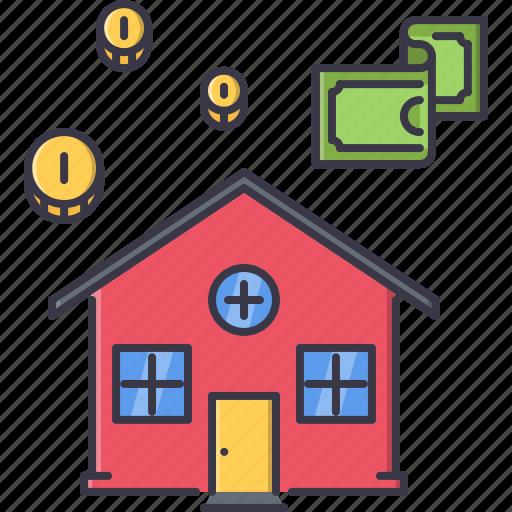 coin, estate, house, money, real, realtor icon