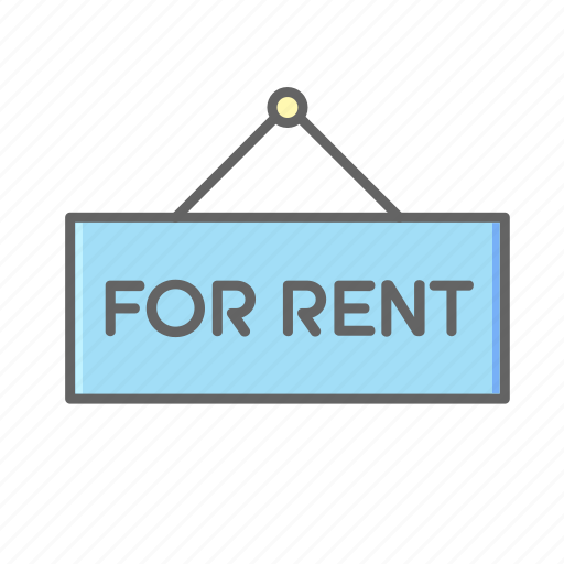 board, estate, home, house, real, rent, sign icon