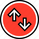 arrow, down, high, up icon