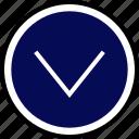 down, nav, navigation icon