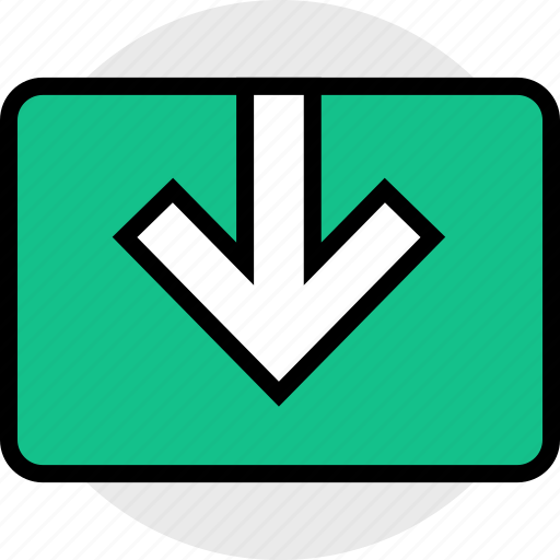 down, download, video icon