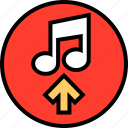 arrow, music, note icon