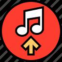 arrow, music, note