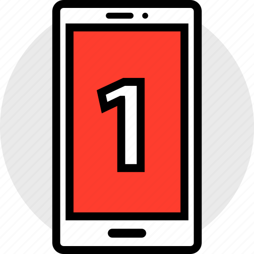 notification, number, one icon