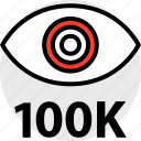 hundred, one, thousand, views icon