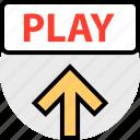 arrow, play, up