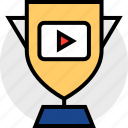 play, trophy, video, youtube icon