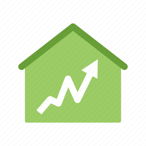 graph, house, statistics icon