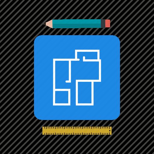 blueprint, house map, house plan icon