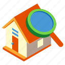 house, inspect, inspection, magnifying, property, real estate, search icon