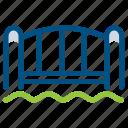 bridge, building, door, entrance, gate, home, river icon