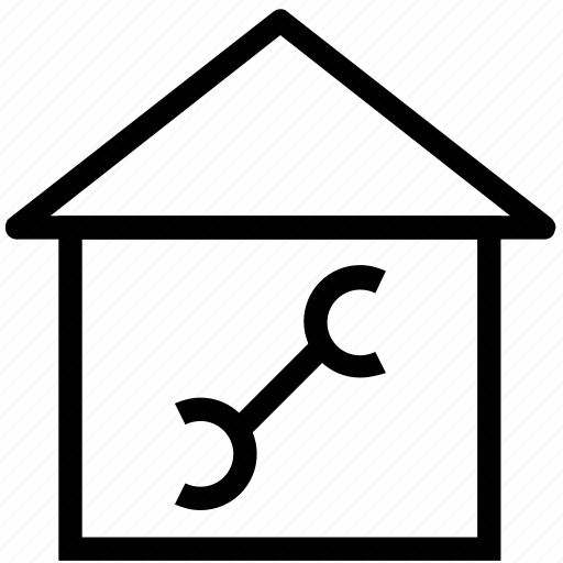 home, home setting, house, hut, tool, wrench icon