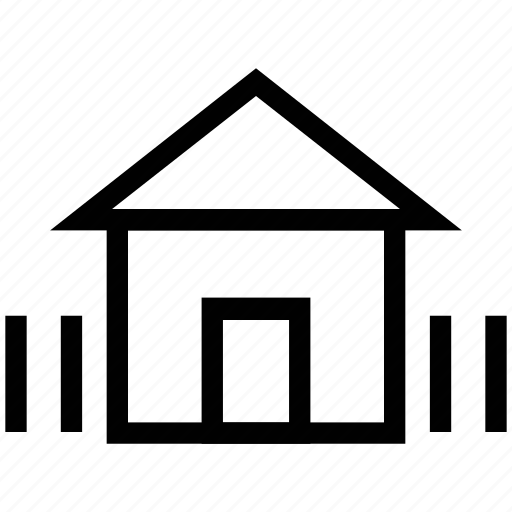 cottage, fence, home, house with fence, hut, security icon
