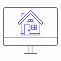 home, house, monitor, online, property, real estate, website icon
