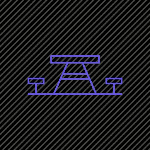 bench, camp, camping, garden, outdoor, outdoors, park icon